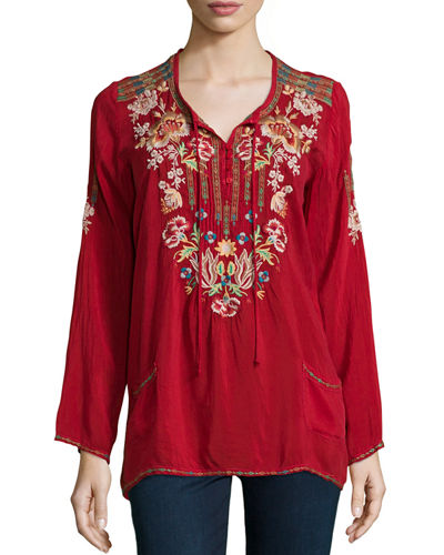 Carnation Long-Sleeve Embroidered Blouse, Plus Size