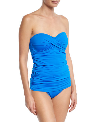 Pearl Solid Bandeau One-Piece Swimsuit