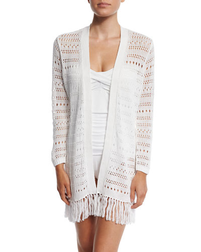 Tassel-Trim Beach Cardigan