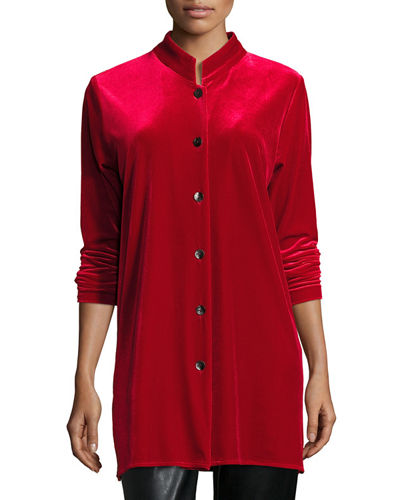 Caroline Rose Mandarin-Collar Velvet Shirt, Plus Size