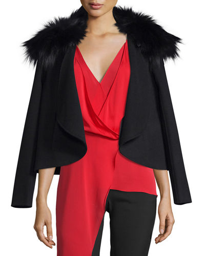 Draped Open-Front Jacket w/ Removable Fox Fur Collar