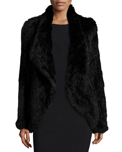 Open-Front Knitted Rabbit Fur Jacket