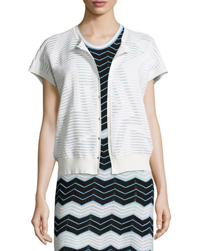 Short-Sleeve Bubble-Hem Zigzag Cardigan, Ivory