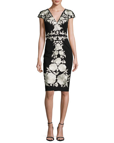 Floral-Embroidered Jersey Sheath Dress, Black