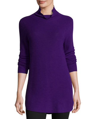 Long-Sleeve Ribbed Turtleneck Tunic Onsale