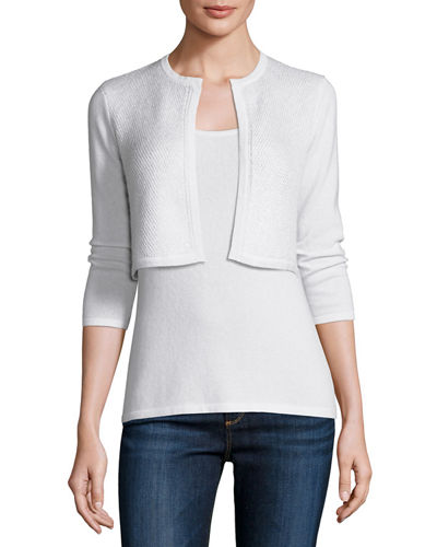 3/4-Sleeve Sequin Cashmere Shrug