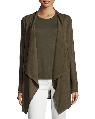 Neiman Marcus Cashmere Collection Piqué-Knit Cashmere Cardigan