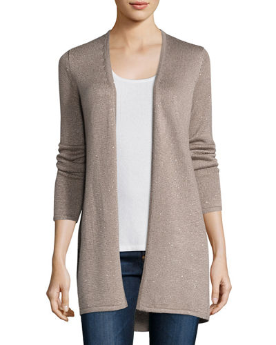 Neiman Marcus Cashmere Collection Long Sequin Cashmere Open Cardigan