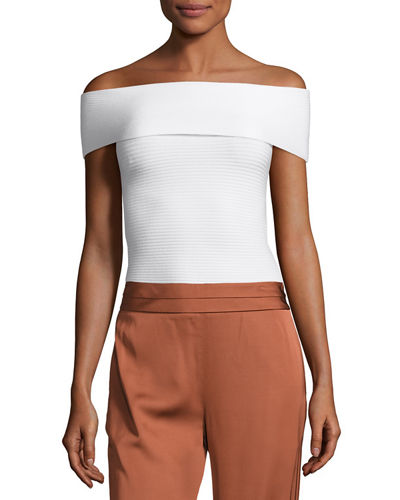 Dominique Off-the-Shoulder Ribbed Top