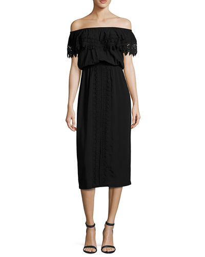 Costa Brava Off-the-Shoulder Midi Dress