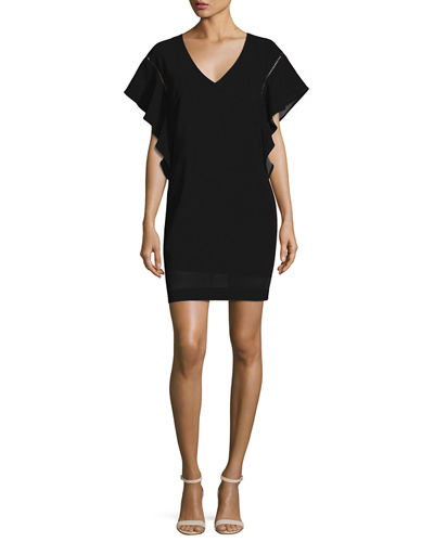 Flutter-Sleeve Classic Crepe V-Neck Shift Dress
