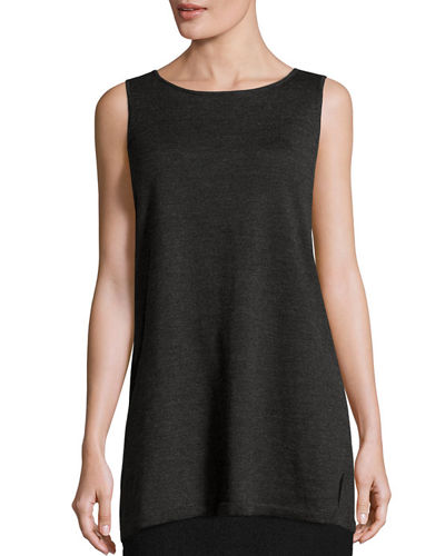 Boiled Merino Jersey Sleeveless Top, Black Charcoal