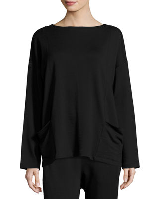 Bateau-Neck Stretch-Fleece Top