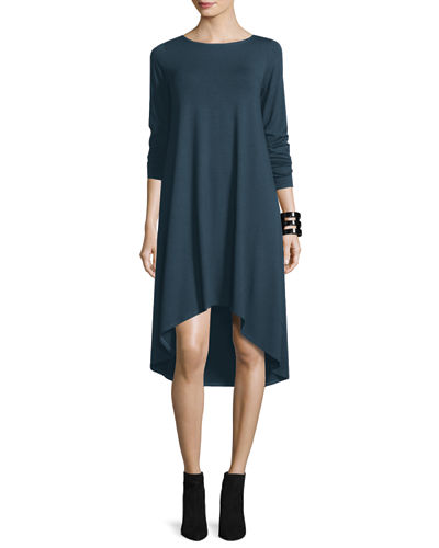 High-Low Long-Sleeve A-line Dress