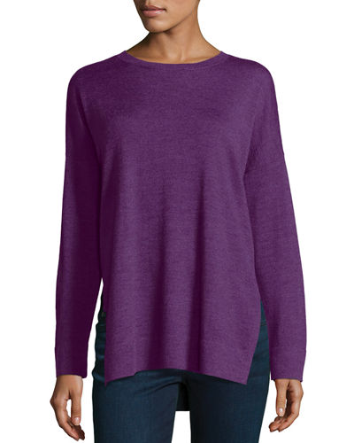 Merino Boxy Side-Slit Sweater