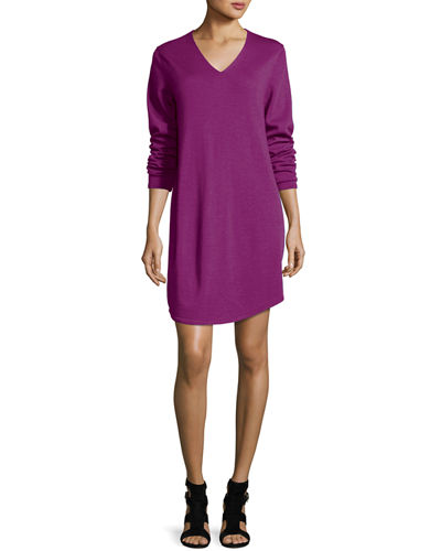 Long-Sleeve V-Neck Merino Jersey Dress