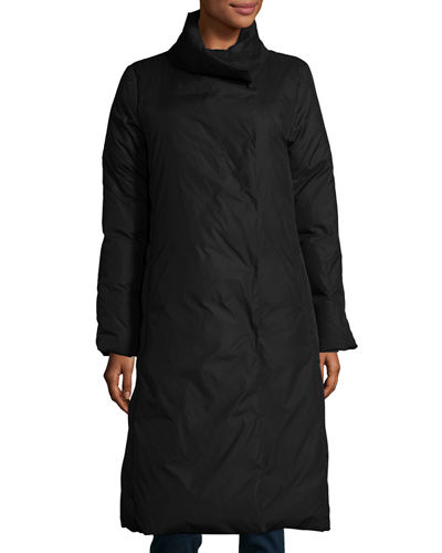 Long Stand-Collar Puffer Coat, Plus Size