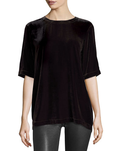 Velvet Half-Sleeve Easy Top