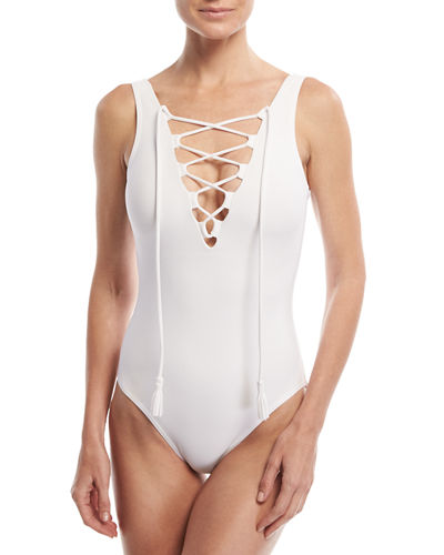 Entwined Lace-Up One-Piece Swimsuit
