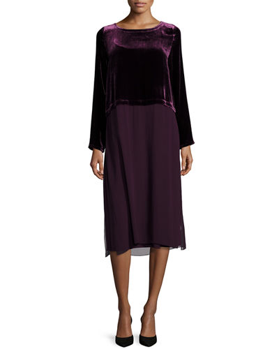 Washable Velvet Long-Sleeve Duster Dress, Petite