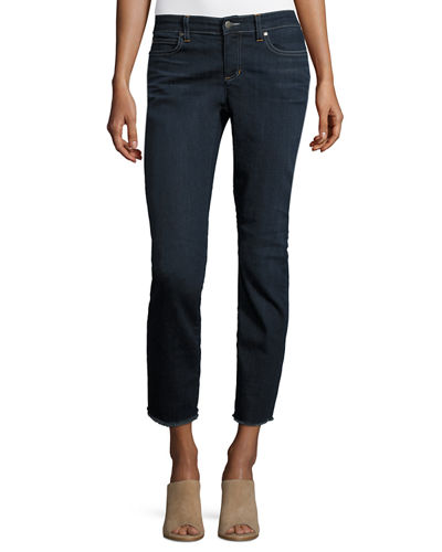 Raw-Edge Slim Ankle Jeans