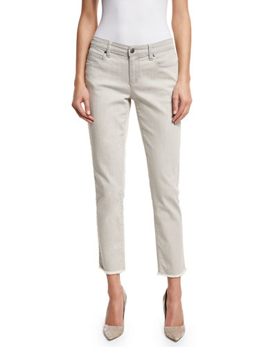 Eileen Fisher Raw-Edge Slim Ankle Jeans
