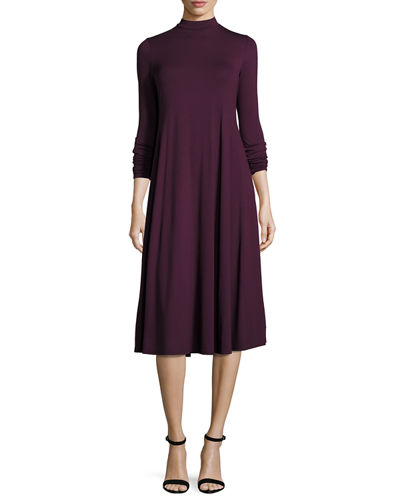 Lightweight Mock-Neck Jersey Midi Dress, Plus Size