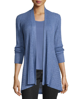 Fine Tencel? Ribbed Open Cardigan