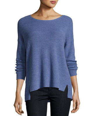 Long-Sleeve Boxy Ribbed Merino Wool Top