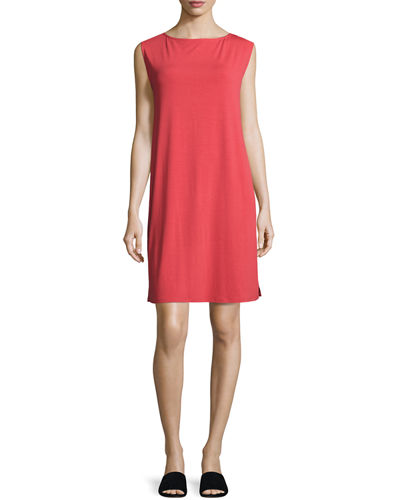 Eileen Fisher Sleeveless Bateau-Neck Jersey Shift Dress