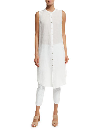 Eileen Fisher Sleeveless Mandarin-Collar Linen Tunic