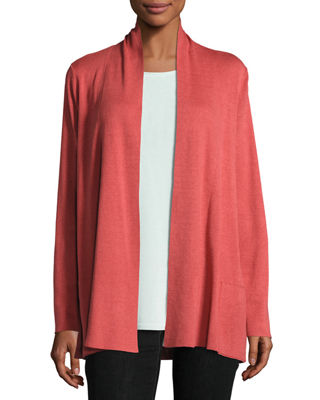 Shawl-Collar Open-Front Cardigan