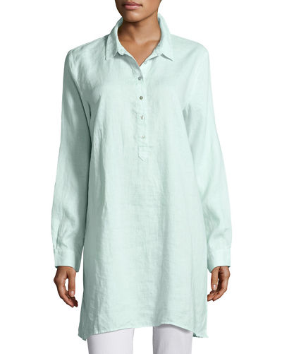 Long-Sleeve Collared Henley Linen Tunic, Petite