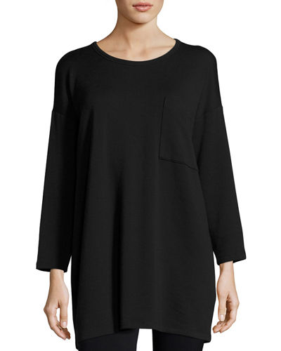 Long-Sleeve Fleece Tunic with Drama Pocket