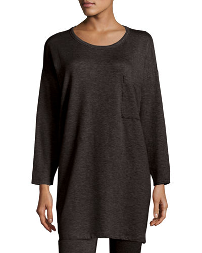 Long-Sleeve Fleece Tunic with Drama Pocket, Petite