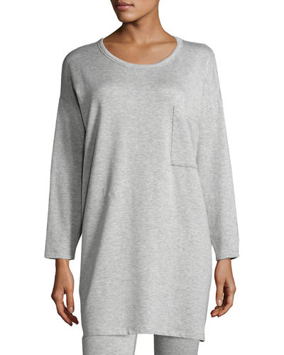 Eileen Fisher Long-Sleeve Fleece Tunic with Drama Pocket,