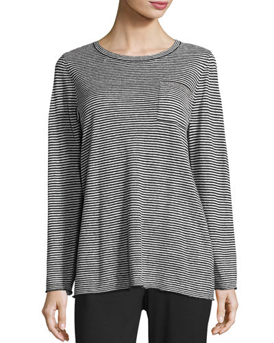 Lightweight Organic Linen Striped Top, Petite