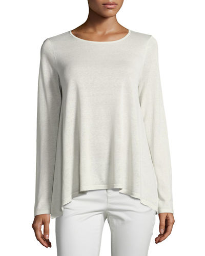 Round-Neck Silk/Organic-Linen Easy Top