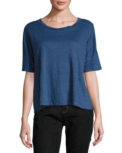 Eileen Fisher Round-Neck Short-Sleeve Box Top