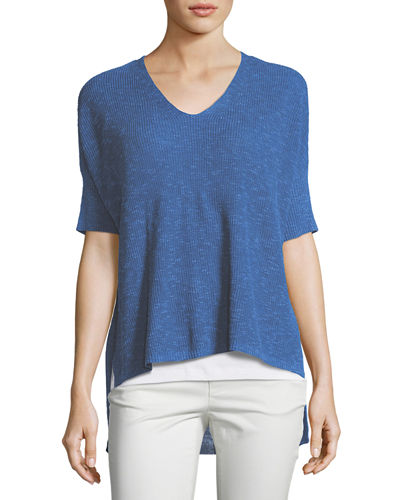 Ribbed V-Neck Boxy Slub Top