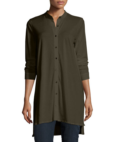 Easy Jersey Button-Front Tunic, Plus Size