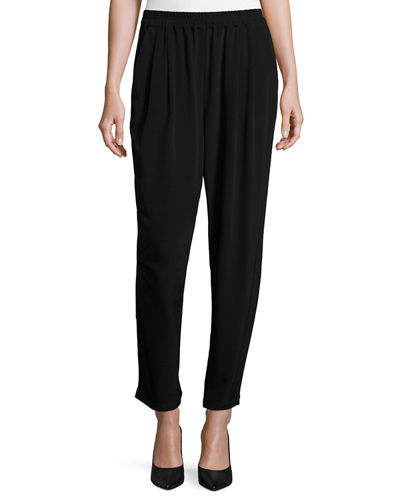 Eileen Fisher Crinkle Crepe Slouchy Ankle Pants, Plus