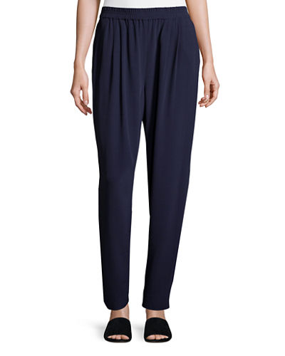 Crinkle Crepe Slouchy Ankle Pants, Plus Size