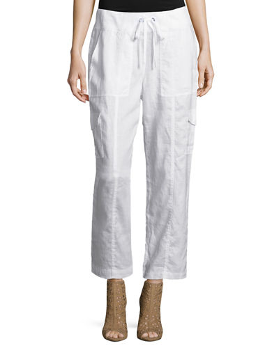 Organic Linen Ankle Pants, Plus Size