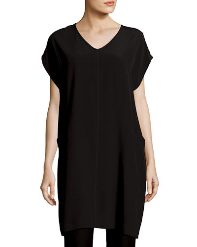 Short Sleeve Crinkle Crepe Tunic