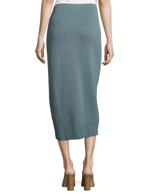 eileen fisher washable silk cotton midi pencil skirt plus