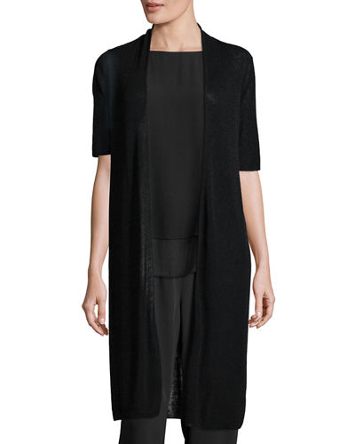 Eileen Fisher Ribbed Knee-Length Cardi