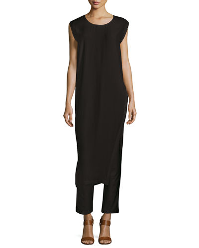 Long Asymmetric Silk Georgette Crepe Tunic