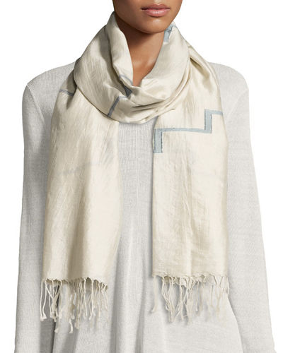 Eileen Fisher Silk Jamdani Steps Scarf