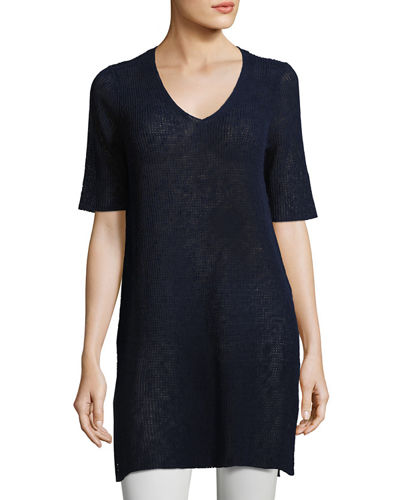 Mélange Half-Sleeve V-Neck Tunic